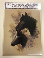 'Black Horse & Foal' Set of 6 Prints and Cutting Guide for Decoupage