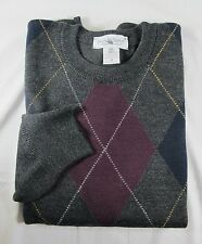 Tricots St Raphael Merino Wool Crewneck ARGYLE Sweater MED Gray Blk Red URUGUAY