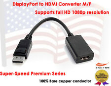 Super Speed Gold Plated DisplayPort to HDMI Male to Female Cable Adapter