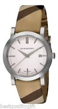 NEW BURBERRY WHITE DIAL CHECK PLAID LEATHER FABRIC BAND SWISS, DATE WATCH BU1390