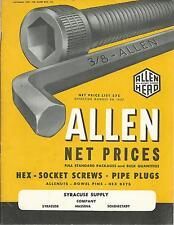 1957 Brochure & Price List  Allen Hex-Socket Screws Pipe Plugs Hex Keys