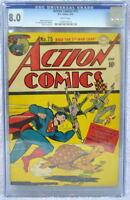 ACTION COMICS #75 CGC 8.0 SUPERMAN 1944 Rare 3rd Highest grade