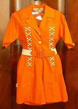 VTG 70'S LILLIE RUBIN BRIGHT ORANGE ROMPER W/WHITE LACING/BELT