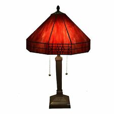 Maeve Tiffany style 2 light Red Table Lamp Red Tiffany style Table Lamp