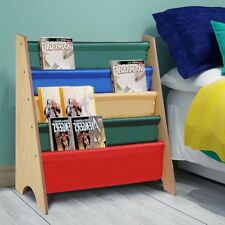 Wooden Canvas Sling Bookcase Bookshelf Magazine Book Shelf Kids Bedroom Storage