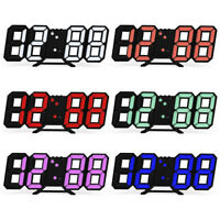 UK USB 3D Modern Digital LED Table Night Wall Clock 24/12 Hour Timer Alarm NEW