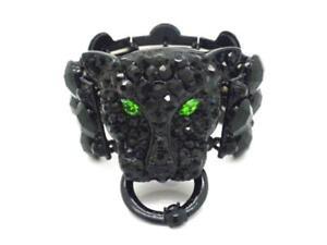 "New Black Leopard Bracelet Women Beaded Bracelet 2"" H"