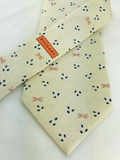 "BVLGARI Mens Tie 100% Silk 7 Fold Necktie 60"" Pizzigoni Ivory Abstract Geometric"