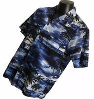 RJC Hawaiian Aloha Shirt Size L Large Blue USA MADE Tropical Palm Trees Pocket