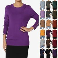 TheMogan Women & PLUS Boyfriend Long Sleeve Crew Neck Knit Sweater Pullover Top