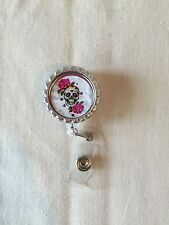 Hot Pink Roses Skull Day Of The Dead Retractable Reel ID Badge Holder Lanyard