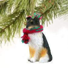 Sheltie Shetland Sheepdog Dog Christmas Ornament Holiday Figurine Scarf tricolor