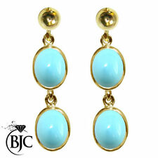 Turquoise Drop/Dangle Natural Oval Fine Gemstone Earrings