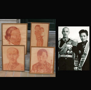 Very rare painted portraits of Chiang Kai-shek and Soong Mei-ling. 1930s. Signed