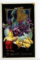 Easter Chick in Pants Ringing Bell—Antique Dressed-Animal Fantasy PC 1910s