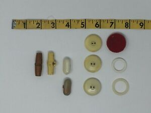 Nice Lot of 12 Vintage 1- Piece BUTTONS / Clasps Rare Unique - Chic crafting