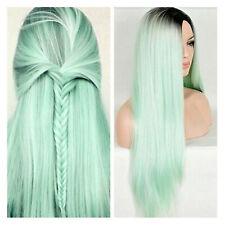 Sintético lacio largo Peluca Ombre Cabello Cosplay pelucas de Verde Menta para Mujer Sexy