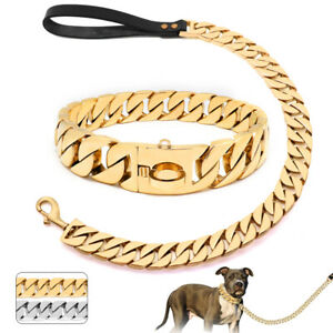 Gold Dog Chain Collar Metal Stainless Steel Cuban Link Chain with Matched Leash