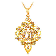 Vintage 18k Gold Plated Hollow Allah Pendant Necklaces Rhinestone Women Jewelry