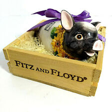 Fitz & Floyd Country Sunflowers Ceramic Hand Painted Pomander Pig In Crate 1994