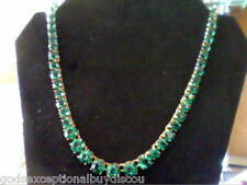 14K YELLOW GOLD PL 96CTW LCS EMERALD TENNIS NECKLACE + FREE EARRINGS! 18 INCH