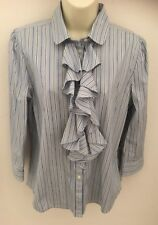 Lauren Ralph Lauren Woman's Size P/L Striped Button Ruffled 3/4 Sleeve Blouse