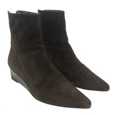 Stuart Weitzman Womens Size 10 Brown Suede Wedge Pointed Toe Bootie