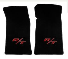 NEW! Ebony Black Floor Mats 2011-2015 Challenger Embroidered Red R/T Logo Pair