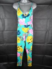 Neon Jumpsuit Size 8 Oversized Floral Textured Holiday Stretch Casual
