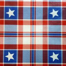 PATRIOTIC TABLECLOTH~Flannel Back~52x70 Oblong~July 4th/Plaid/Stars/Red/Blue~NEW