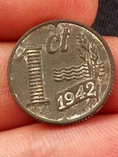 NETHERLANDS 1 Cent KM# 170 Wilhelmina German Occupation 1942 Zinc 2 g ø 17 mm -2