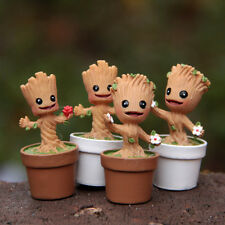 4pcs Fun Marvel Movie Guardians of the Galaxy Groot Flowerpot Action Figures Toy