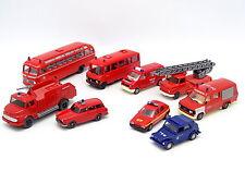 Divers 1/87 HO - Lot de 9 véhicules Pompiers Feuerwehr : VW  Mercedes SKODA