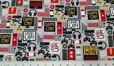"GAME ON ~ Fat Quarter 100% COTTON Fabric 18""x21"" FLANNEL ~ CONTROLLER HEAD PHONE"
