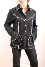 Fiorucci sécurité Jeans vintage 80 S boutons sur le devant effiloché Denim RARE Veste M L Nice