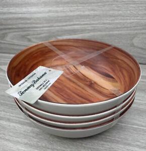 Tommy Bahama Melamine Bowl Set Medium Wood Grain Pattern total of 4 in set