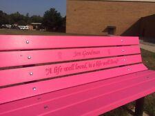 Vibrant Pink Memorial Bench Plastic Lumber-Solid steel Frames.