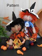 PATTERN Primitive Raggedy Baby Witch Doll # 80 Halloween Folk Art Cloth Decor