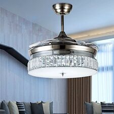 Crystal Invisible Silver Ceiling Fan Light Dining Room Muted Fan Chandelier 36""