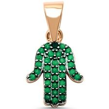 Rose Gold Pltd Emerald Hand of Hamsa Charm .925 Sterling Silver Pendant