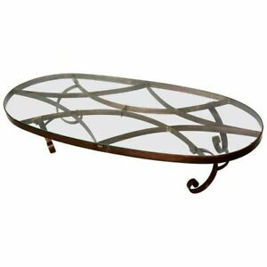 Arturo Pani Style Oval Brass Coffee Table Mexican Modernism 1940s