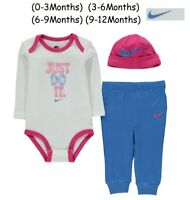 Baby Nike 3 Piece Top bottom & Hat Gift Set Girl Size(0-3) to (9-12) Months BNWT