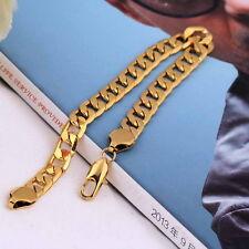Hommes mode punk 18k plaqué or cuivre link-fermé chaîne bracelet bangle