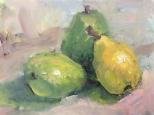 """Original Impressionism Daily Oil Painting 6""""x8"""" Pears Still Life  Signed"""
