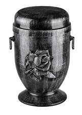 Grigio Urna cremazione per ceneri con rosa emblem.funeral adulto metallo