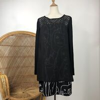 David Pond Long Sleeve Long Top Tunic Dress Size 14 L Made In NZ Face Lady Print
