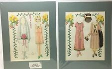 Lot of 2 1928 Paper Doll Drawing Original Art Vintage 1989 Anita Munson