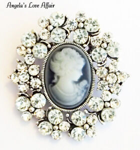 VINTAGE STYLE VICTORIAN ANTIQUE SILVER CLEAR CRYSTAL DIAMANTE CAMEO BROOCH PIN