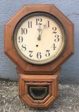 Vintage Antique E Ingraham Drop Octagon Wall Clock Wood Brass Pendulum Works