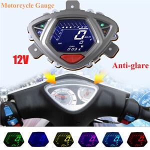 12V Motorcycle LCD Digital Backlight Odometer Speedometer Tachometer Gauge Meter